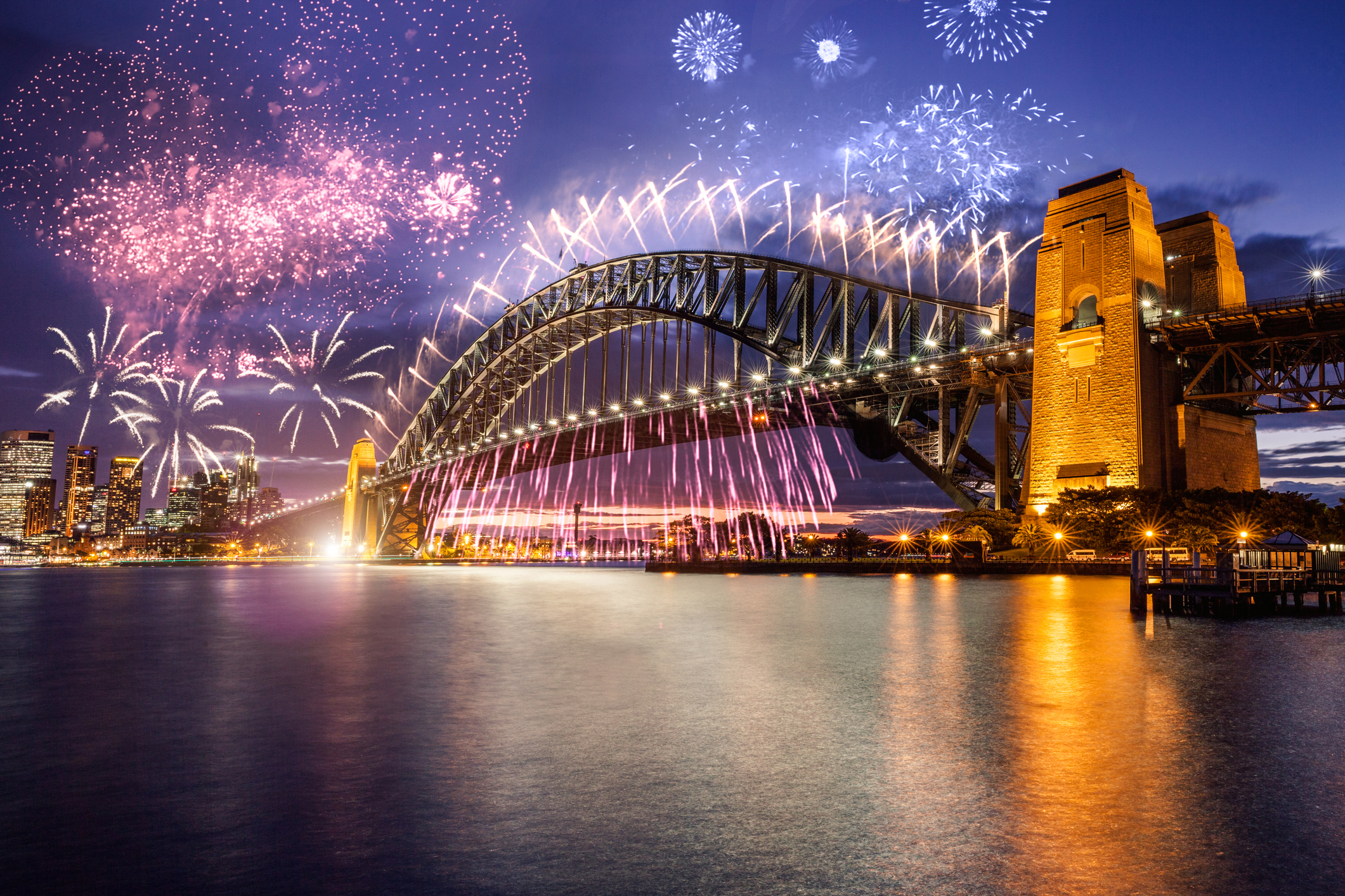 New Year's day fireworks and celebrations in Sydney : Stock Photo