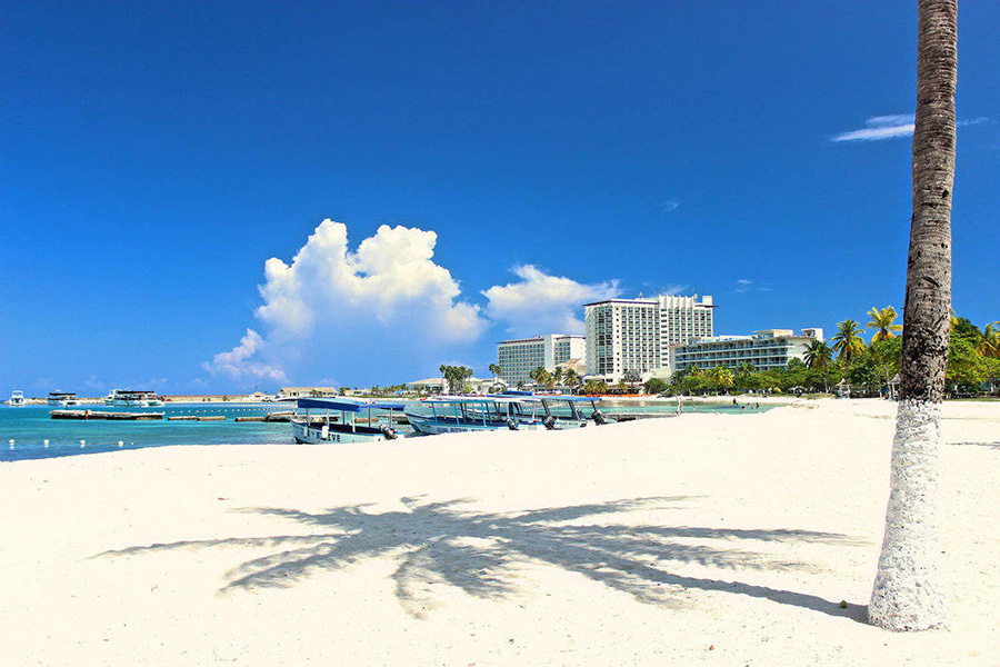 The white sands and blue skies of Ocho Rios, Jamaica.