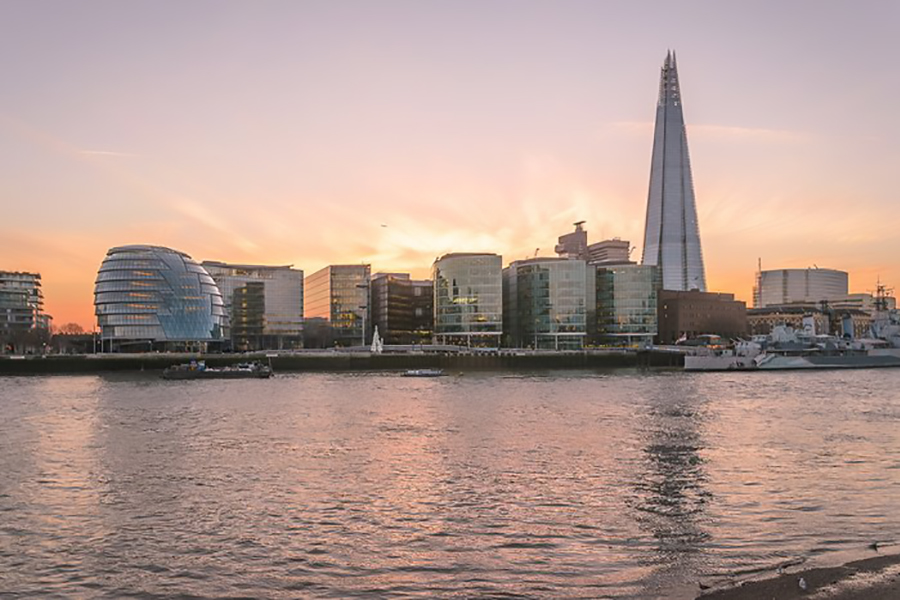 The Shard at dusk from across the River Thames