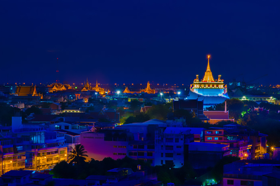 The Golden Mount (Wat Saket) looks spectacular lit up at night